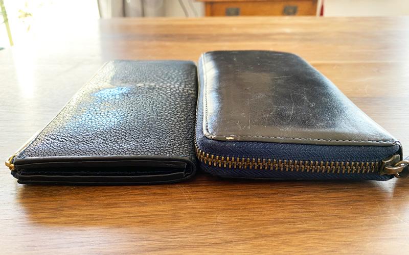 bahari ガルーシャ財布 薄さ比較