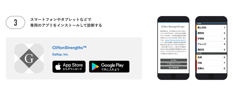ストレングスファインダーアプリ